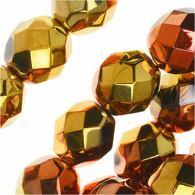 Czech Fire Polished Glass, Faceted Round Beads 8mm, Jet California Gold Rush