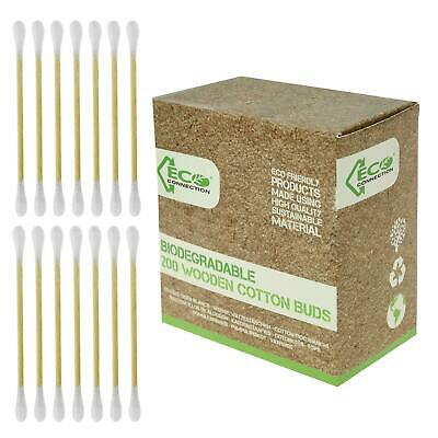 200 Wooden Cotton Ear Buds Makeup Swabs Cosmetic Oral Care Vegan Eco Friendly