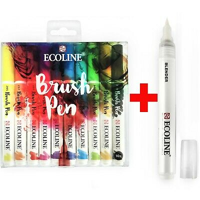 Royal Talens Ecoline Liquid Watercolour Brush Pens - Set of 10 Colours + Blender