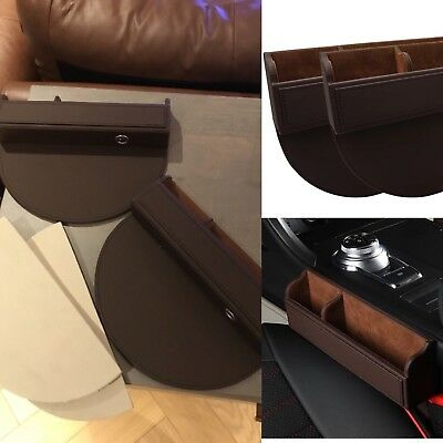 UK stock High Quality 2xfaux Leather Car caddy organiser Seat Gap Zip Side Bag