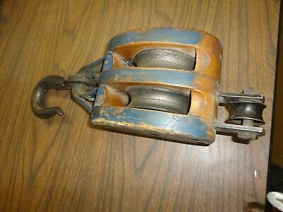 Antique / Vintage Cast Iron &Wood Barn Pulley Old Farm Tool 2 wheel Marked Anvil