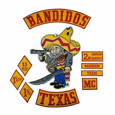 Bandidos Texas Mc Embroidered Biker Vest Patches Set Iron On / Sew On