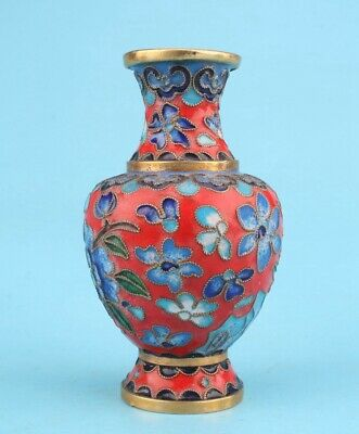 Vintage Chinese Cloisonne Enamel Vase Old Handmade Crafts Collection Gift