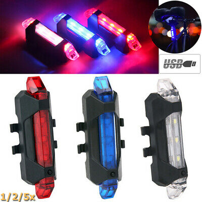 1-5X LED Bike Tail Rear Light USB Rechargeable Bicycle Signal Lamp Night Warn SS