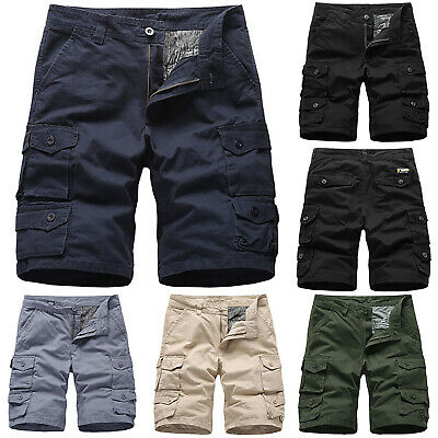 Mens Casual Cotton Summer Shorts Plain Army Cargo Combat Pants Beach Trousers