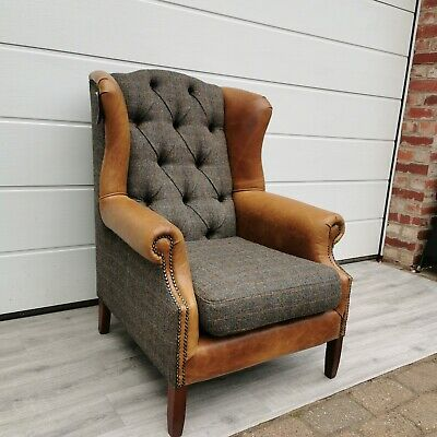 Harris Tweed Leven Leather Fabric Wingback Chair Armchair High Back Chair