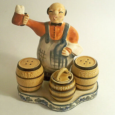 VTG BARTENDER BEER BARREL KEGS SALT PEPPER & MUSTARD SET OCCUPIED JAPAN 1940's