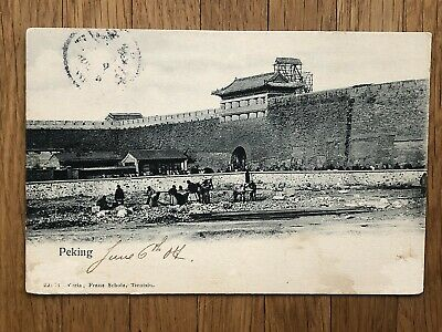 China Old Postcard Peking Wall City Gate Farmers Tientsin To Belgium 1907 !!