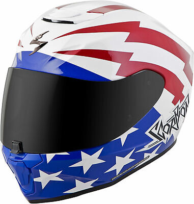 Scorpion EXO-R420 TRACKER Full-Face Motorcycle Helmet (White/Red/Blue) L (Large)