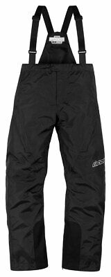 ICON PDX 2 Waterproof Nylon Motorcycle Rain Bibs/Pants (Black) S (Small)