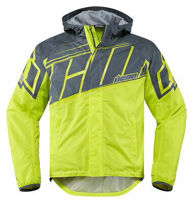 ICON PDX 2 Waterproof Nylon Motorcycle Rain Jacket (Hi-Viz) S (Small)