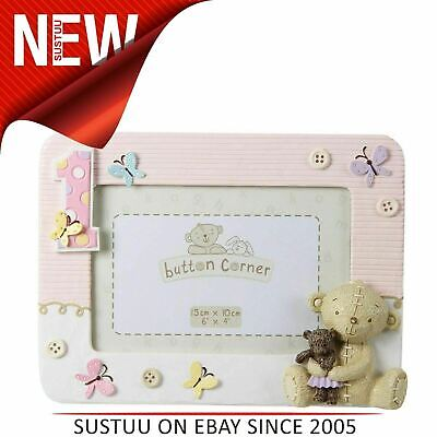 """Button Corner Resin Photo Frame 1st Birthday│Baby frame With Teddy│Pink│6"""" x 4""""│"""