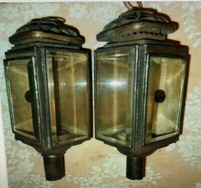 A Pair of Antique Brass Carriage Lamps, Bevelled Glass, Red Reflectors,Clamps.