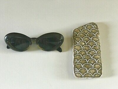 Vintage Two Tone Cat Eye French Sun Glasses with Beaded Case