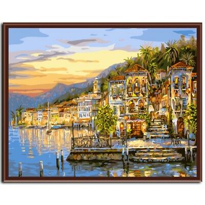 Paint By Number Kit Tropical Resort Sea Town Lights DIY Picture 40x50cm Canvas