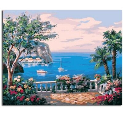"Paint By Number Kit Tropical Sea Town Boats Resort DIY Picture 16x20"" Canvas"