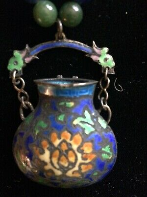 ANTIQUE Enameled Amphora CHINESE  Necklace With Turquoise And Lapis Beads