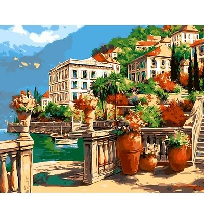 "Paint By Number Kit Tropical Seaside Town Resort Hotel DIY Picture 16x20"" Canvas"
