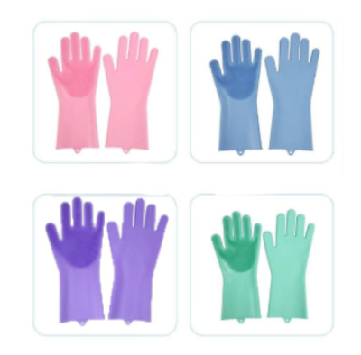 Magic Silicone Rubber Dish Washing Gloves Scrubber Bristles Brush cleaning home