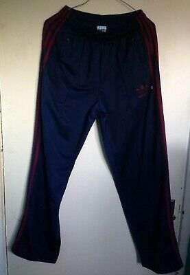 Ladies Adidas Vintage Blue Red Striped Tracksuit Bottoms Size S Petite