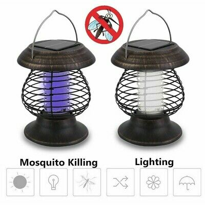 Solar Powered Outdoor Mosquito Fly Bug Insect Zapper Killer Trap Lamp Light AU