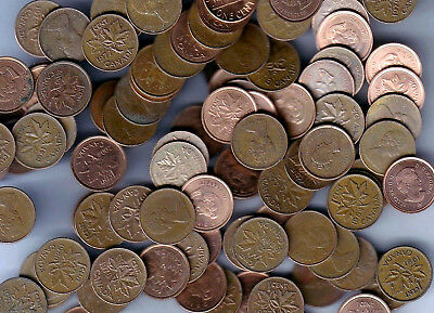 Lot of 100 Canada One Cent (Penny) Mixed Dates Coins! 2 Rolls! ->