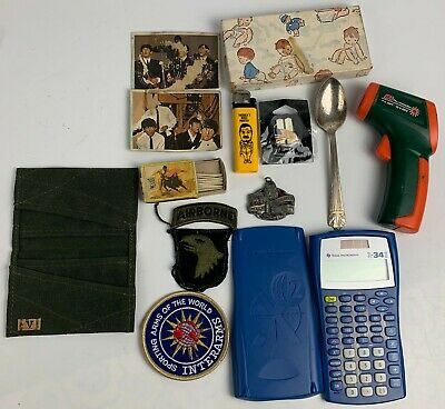 Miscellaneous Lot Junk Drawer Calculator Patches Military Wallet Keychain Cards