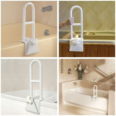 Adjustable Bathtub Grab Bar Safety Rail Lock to Tub Side Clamp On Handle Support