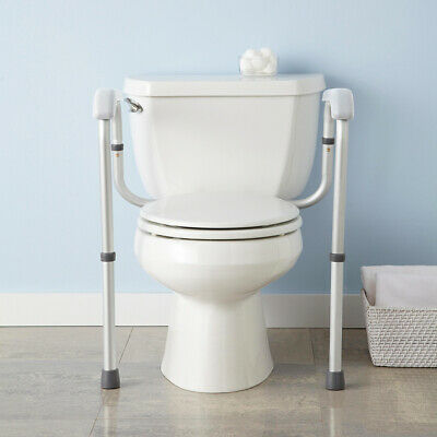Adjustable Toilet Safety Frame Rail 375lbs Grab Bar Support Assist Handicap