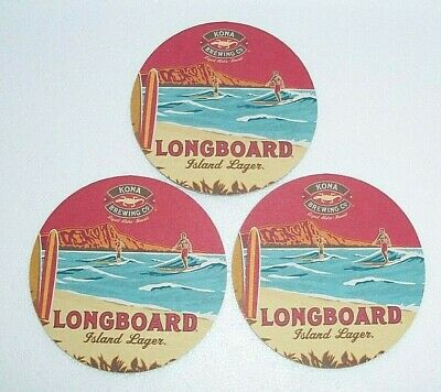 Lot Of 3 Big Wave Golden Ale Longboard Island Lager Round Coasters Hawaii New!