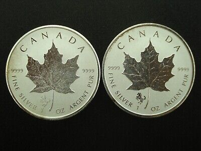 Lot of (2) 2014 Canada Maple Leaf Reverse Proof $5 Silver 1 oz Coins Horse Privy