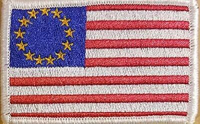 Betsy Ross US Flag USA Patriotic Morale Tactical Iron-On Patch White Border