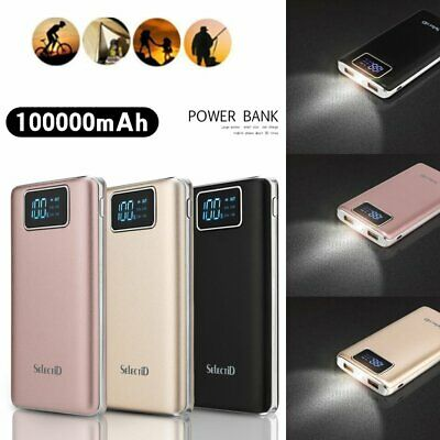 100000mAh Power Bank 2USB LCD LED External Charger for iPhone 6 7 8 8Plus XS XR