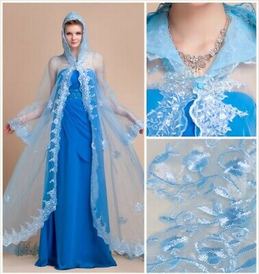 Blue Hooded Wedding Bridal Capes Women Formal Shawls Jackets Laced Edge Cloaks