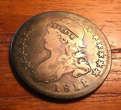 Rainbow Toned 1811 Capped Bust Half Dollar 50c SMALL 8