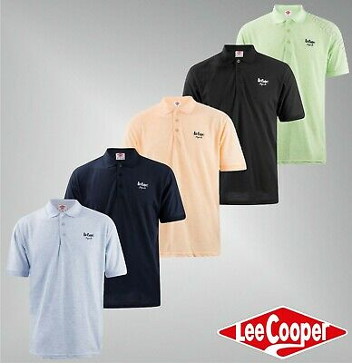 Mens Lee Cooper Button Short Sleeves Casual Polo Shirt Top Sizes from S to XXL
