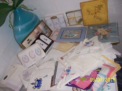 Vintage 80 Handkerchiefs hankies Mixed Bulk Craft Lot new and used some boxed