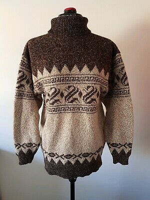 Vintage Wool 70's 80's Ladies Turtle Neck Hand Knit Jumper Size S - M