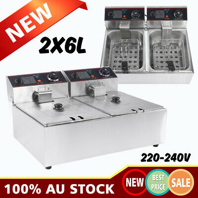 2x6L Electric Commercial Deep Fryer Twin Frying Basket Chip Cooker 5000W 240V