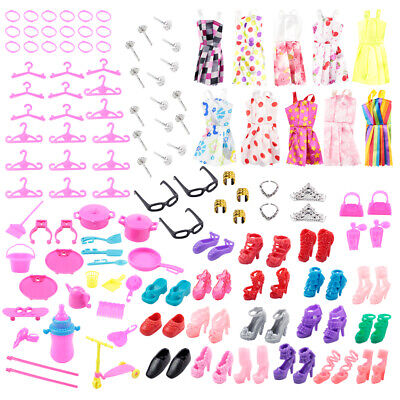 80Pcs For Barble Doll Dresses Shoes Jewellery Clothes Set Accessories Kids Gift