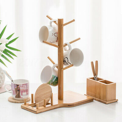 Apollo Red Beechwood 6 Mugs Tree Kitchen Towel Roll Holder Stand Home New