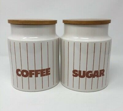 Vintage 1960 1970 Retro Hornsea Coffee And Sugar Brown Stripe Pots Canister