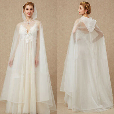 White Ivory Tulle Wedding Bridal Cloaks Shawls Formal Party Hooded Wraps Capes