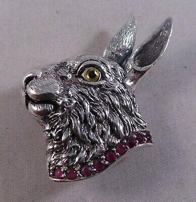 Superb Sterling Silver Ruby Rabbit / Hare Pin / Badge / Brooch And Pendant