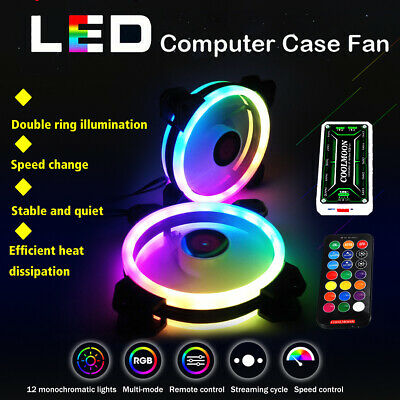 4 Pack RGB LED Quiet Computer Case PC Cooling Fan 120mm with 1 Remote Control UK