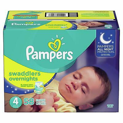 Pampers Swaddlers Overnights Disposable Baby Diapers, Size 4 58 Count