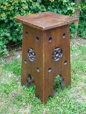 A Good Antique Arts & Crafts Oak Stool Or Pedestal Stand