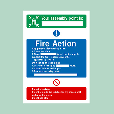 Fire Action Assembly Point Plastic Sign/Sticker - Fire Exit, Escape (FA8)