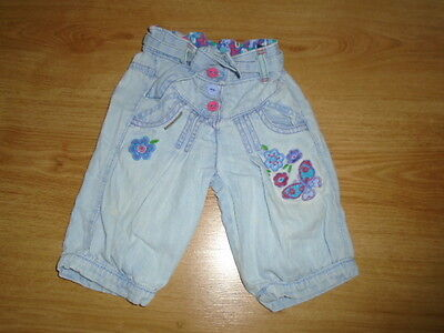 Pretty girls light blue denim summer embroidered jeans, GEORGE, 9-12 months