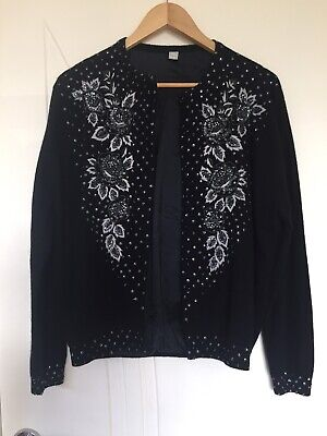 46 Vintage Enbroided Cardigan Sequin Size Medium Wool Navy White
